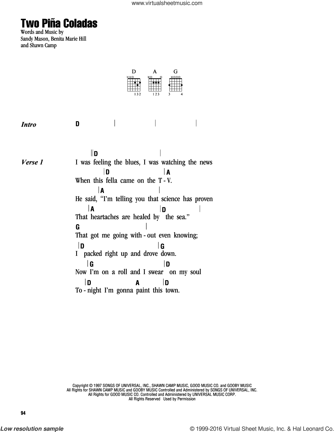 Two Pina Coladas sheet music for guitar (chords) by Shawn Camp and Garth Brooks. Score Image Preview.