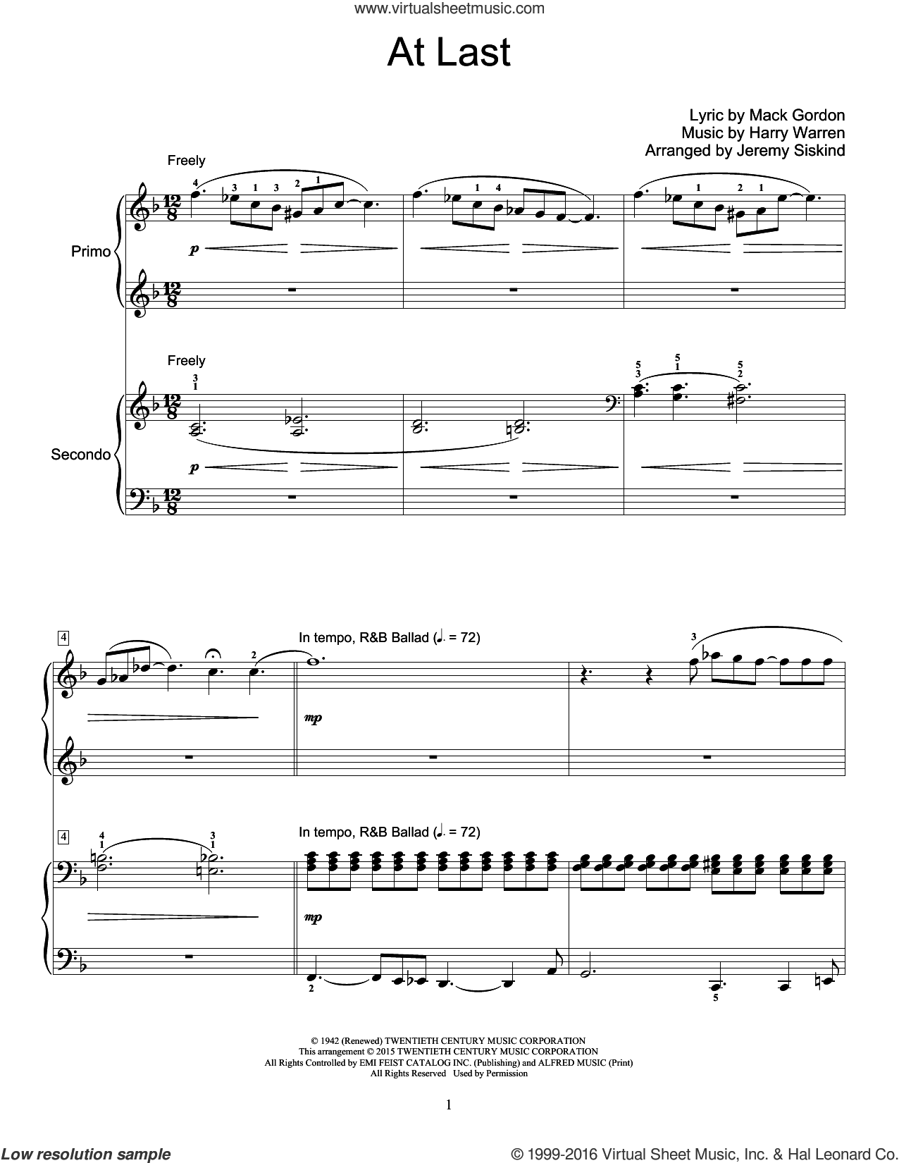 At Last sheet music for piano four hands by Harry Warren, Jeremy Siskind, Celine Dion, Etta James and Mack Gordon, intermediate skill level