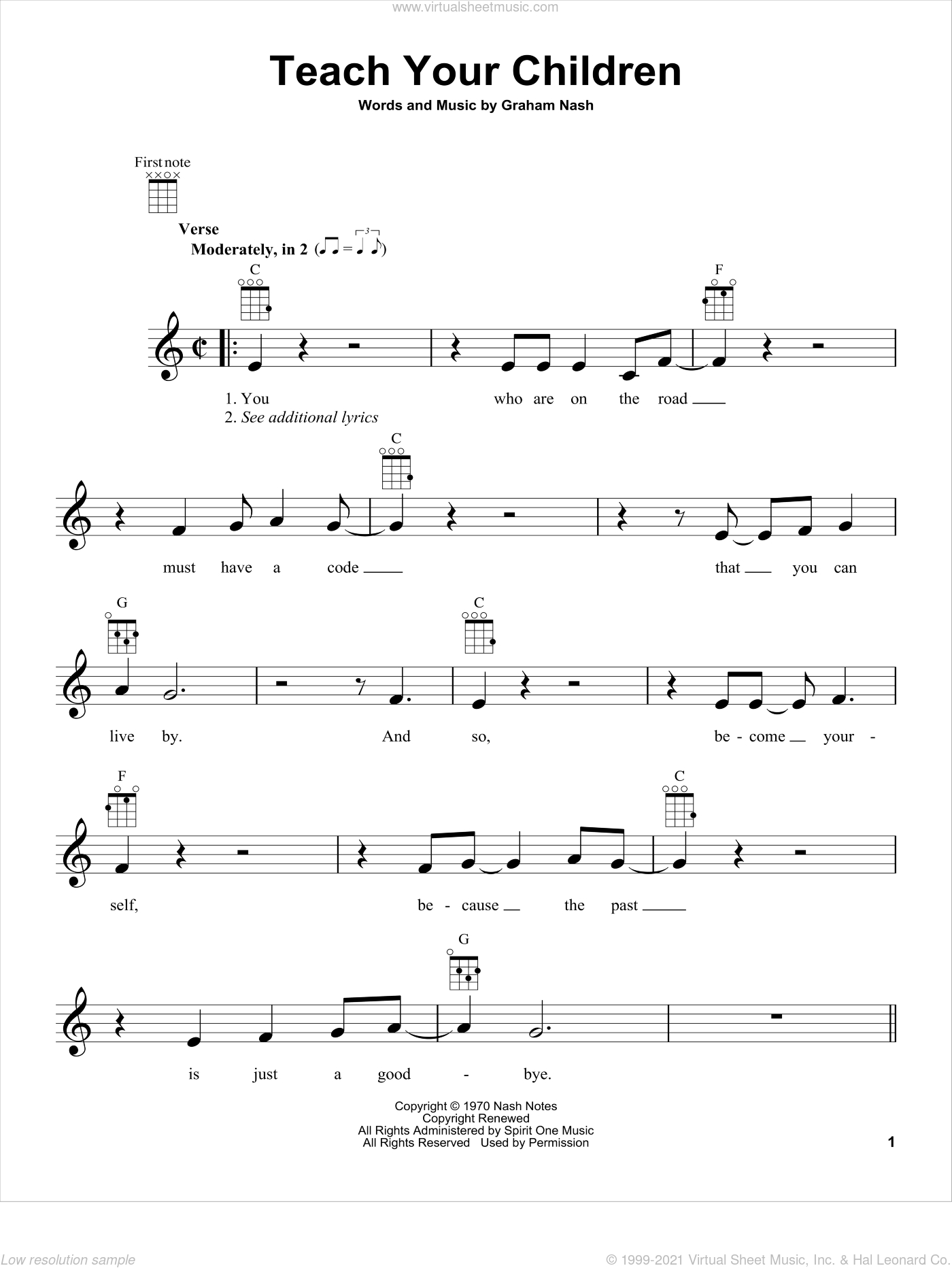 Teach Your Children sheet music for ukulele by Crosby, Stills, Nash & Young and Graham Nash, intermediate. Score Image Preview.