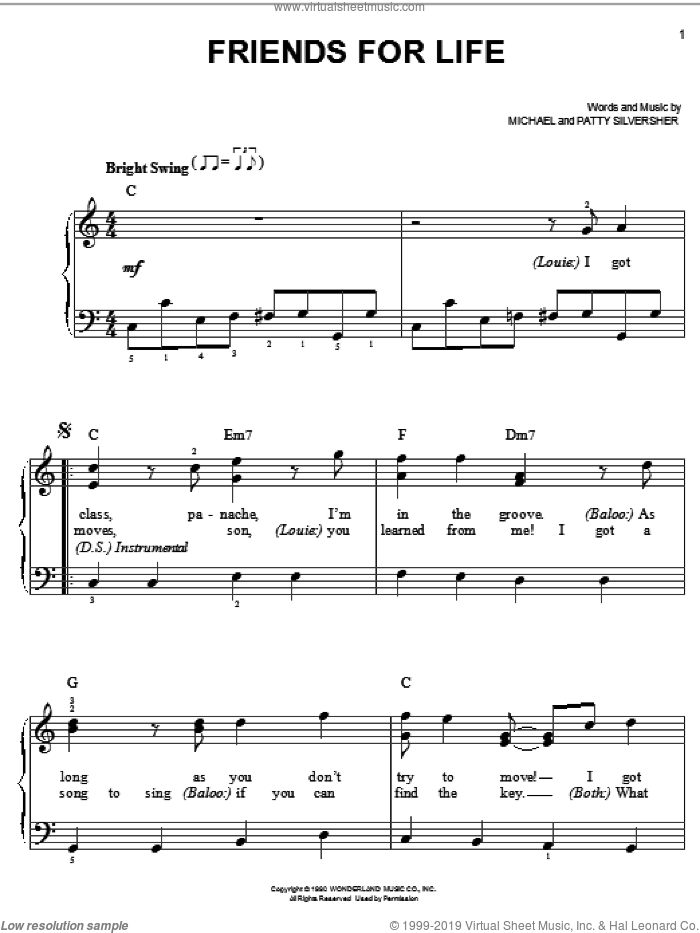 Friends For Life sheet music for piano solo by Michael Silversher and Patty Silversher, easy skill level