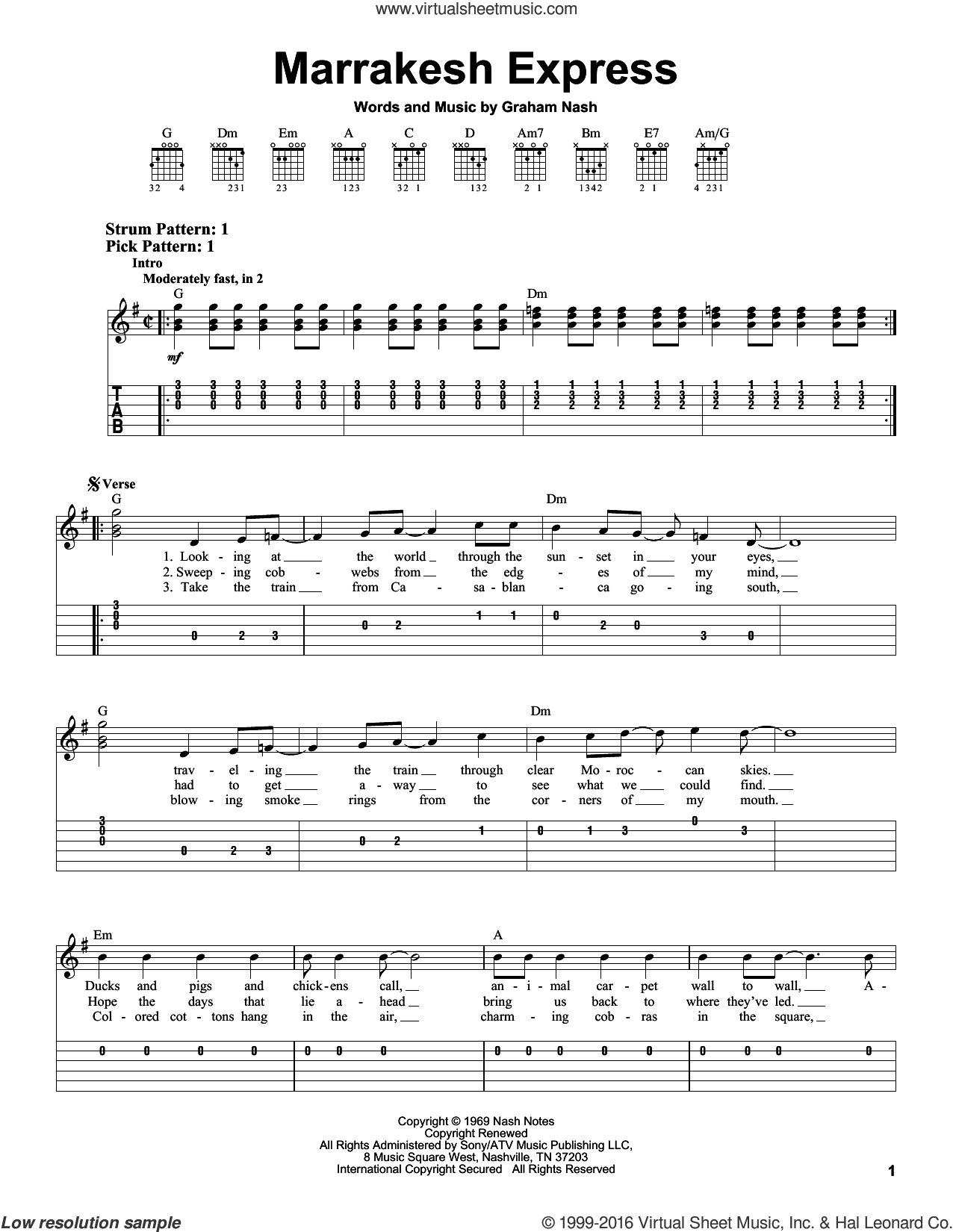 Marrakesh Express sheet music for guitar solo (easy tablature) by Crosby, Stills & Nash and Graham Nash, easy guitar (easy tablature). Score Image Preview.