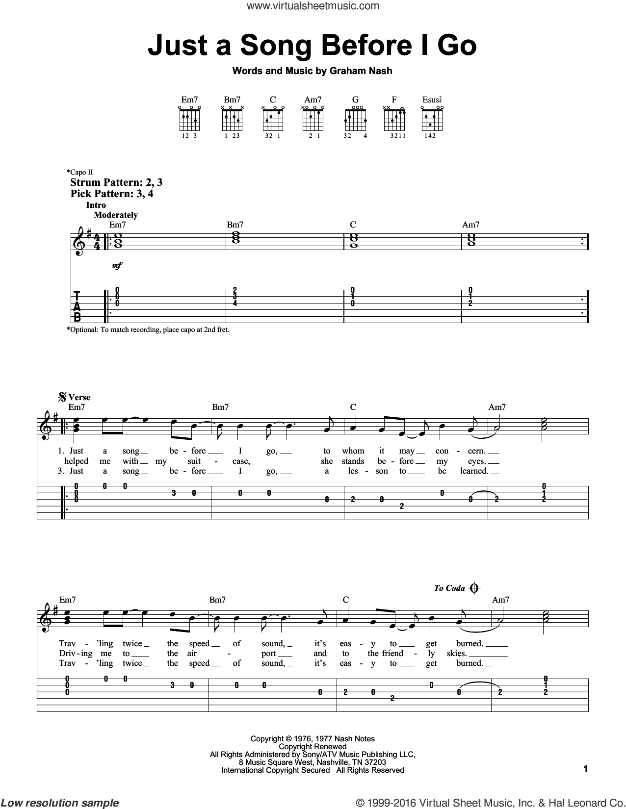 Just A Song Before I Go sheet music for guitar solo (easy tablature) by Crosby, Stills & Nash and Graham Nash, easy guitar (easy tablature)