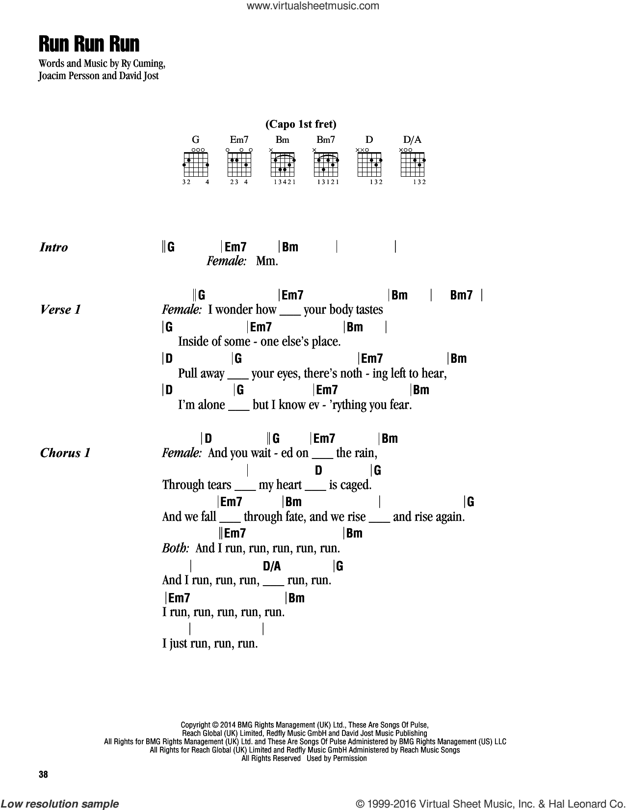 Run Run Run sheet music for guitar (chords) by Kelly Clarkson, David Jost, Joacim Persson and Ry Cuming, intermediate