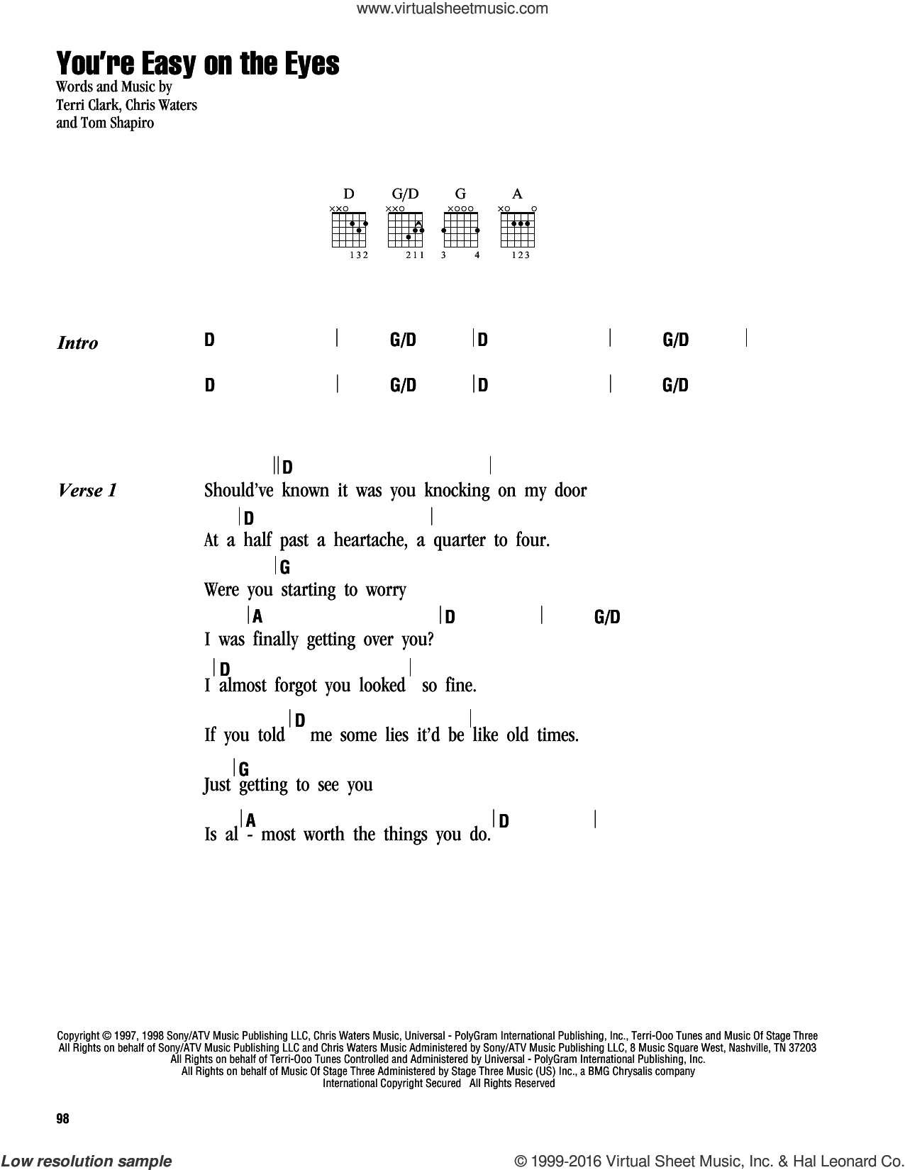 You're Easy On The Eyes sheet music for guitar (chords) by Terri Clark, Chris Waters and Tom Shapiro, intermediate
