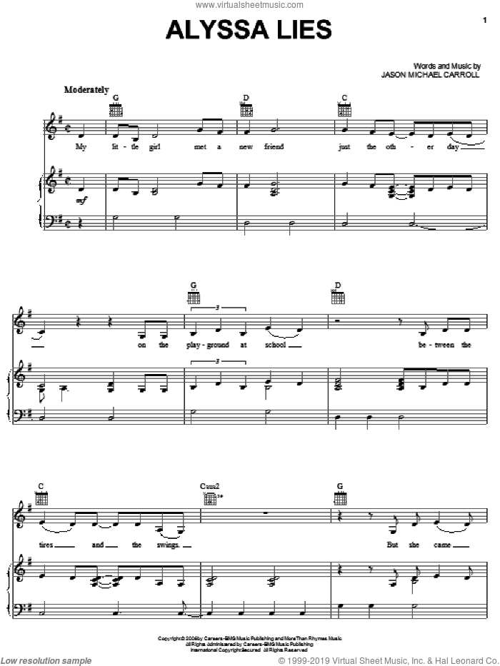 Alyssa Lies sheet music for voice, piano or guitar by Jason Michael Carroll