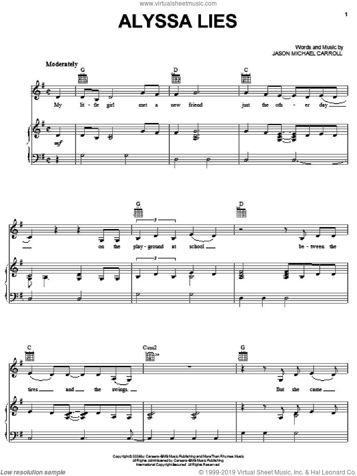 Alyssa Lies sheet music for voice, piano or guitar by Jason Michael Carroll, intermediate skill level