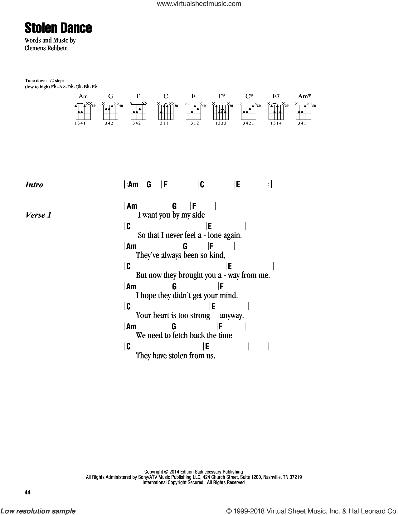 Stolen Dance sheet music for guitar (chords) by Milky Chance and Clemens Rehbein, intermediate. Score Image Preview.