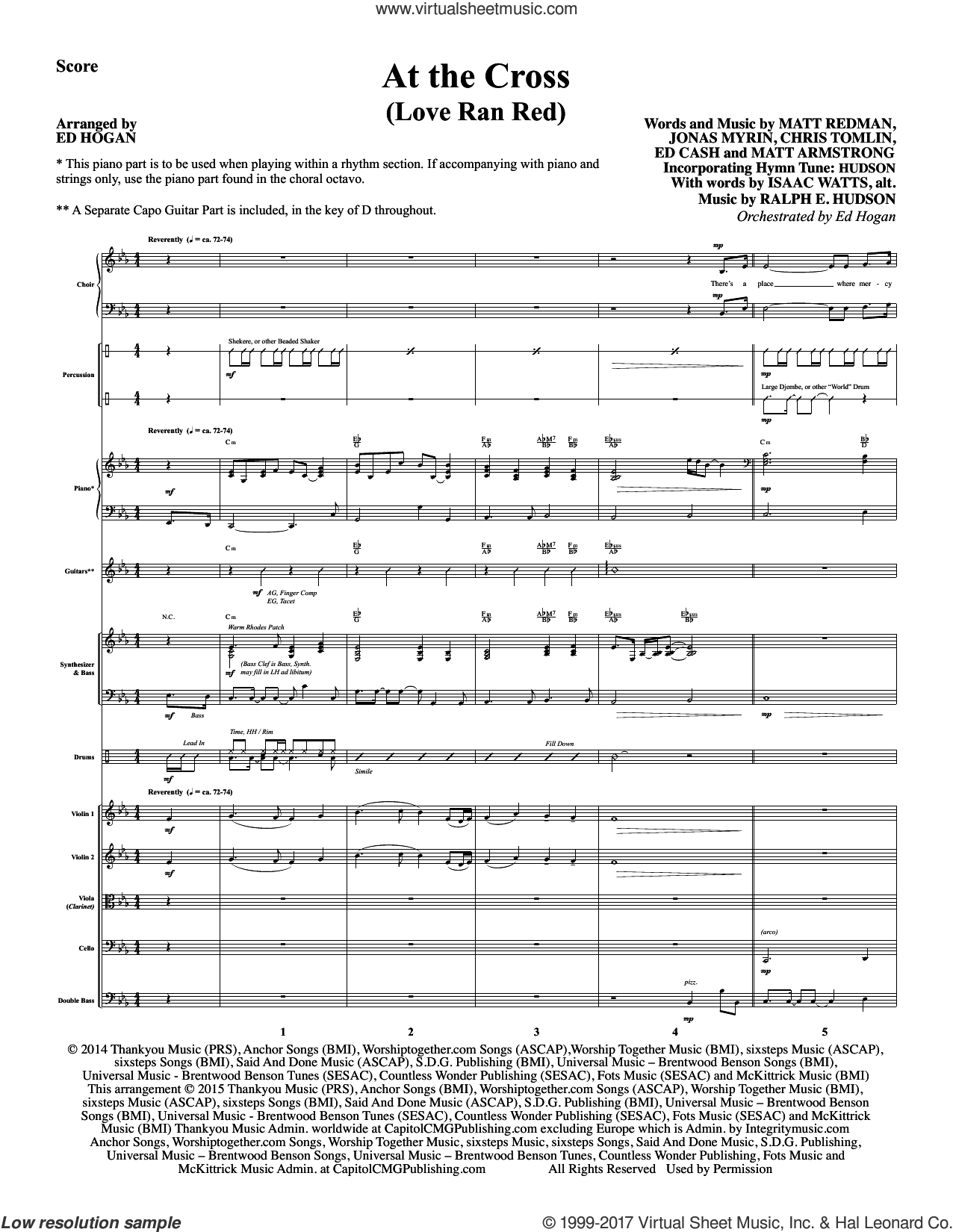 At the Cross (COMPLETE) sheet music for orchestra/band by Isaac Watts and Ed Hogan, intermediate. Score Image Preview.