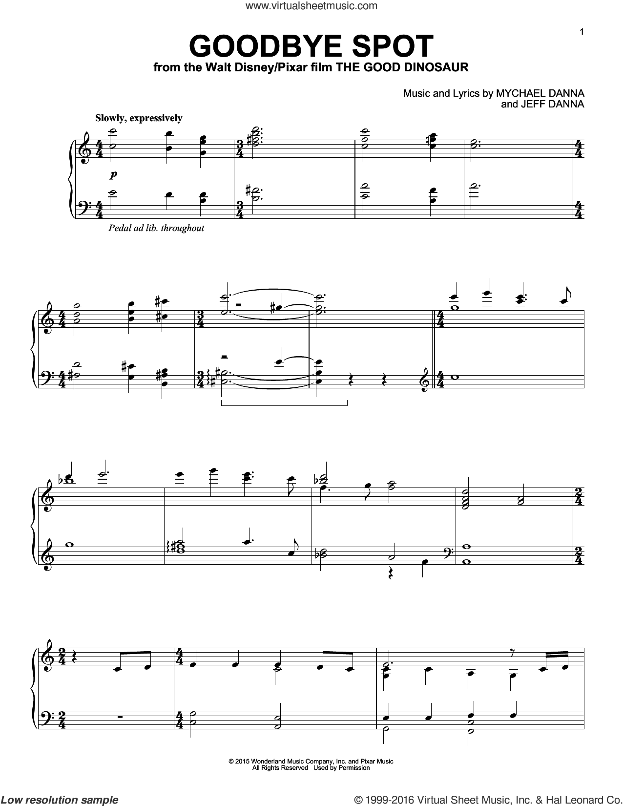 Goodbye Spot sheet music for piano solo by Mychael & Jeff Danna, Jeff Danna and Mychael Danna, intermediate skill level