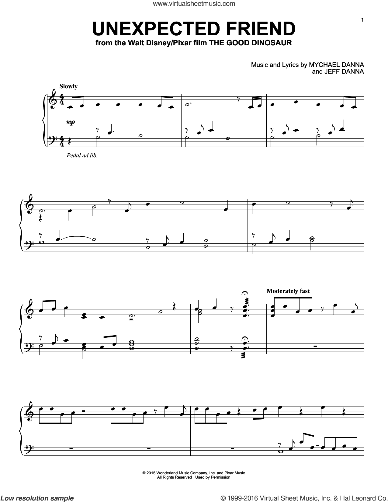 Unexpected Friend sheet music for piano solo by Mychael & Jeff Danna, Jeff Danna and Mychael Danna, intermediate skill level