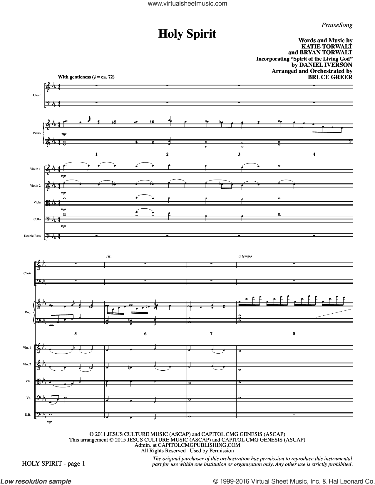 Holy Spirit (COMPLETE) sheet music for orchestra by Daniel Iverson and Bruce Greer. Score Image Preview.