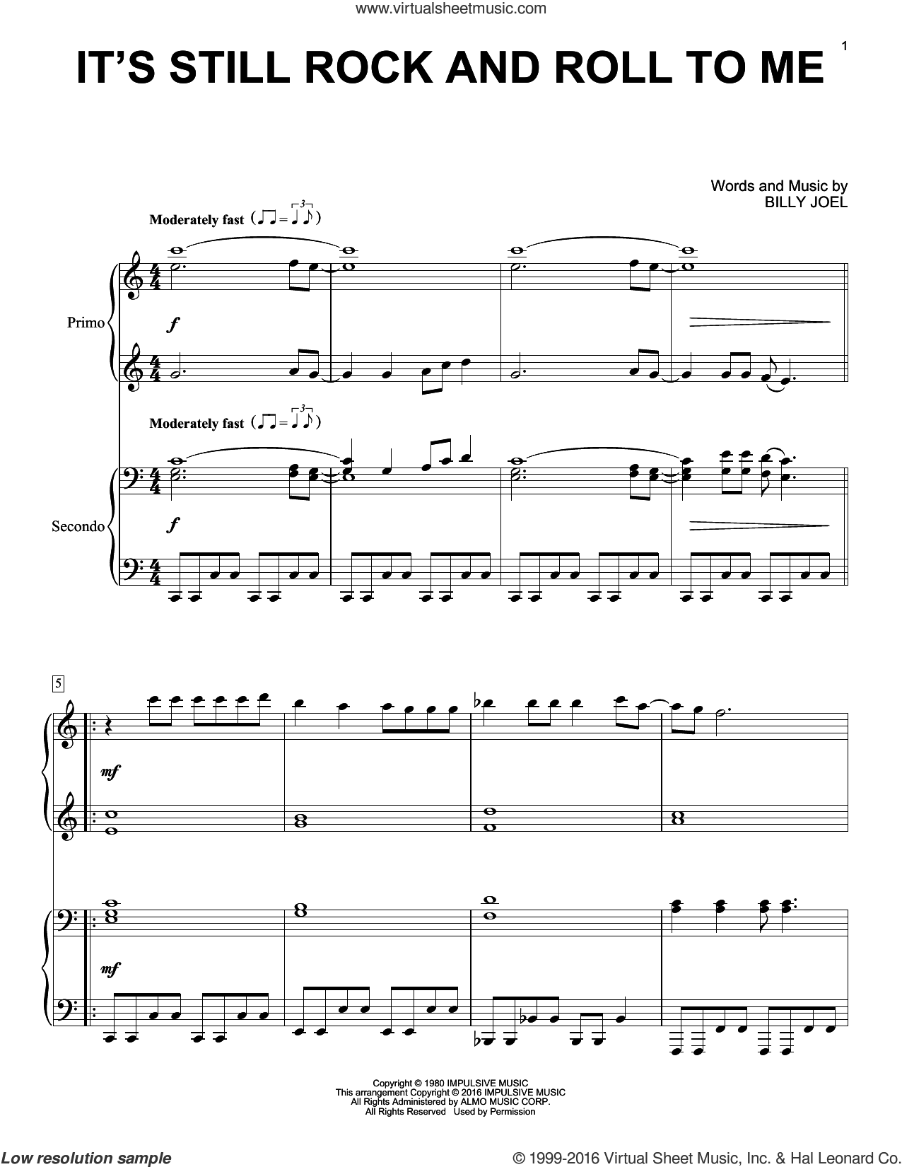 It's Still Rock And Roll To Me sheet music for piano four hands by Billy Joel, intermediate skill level