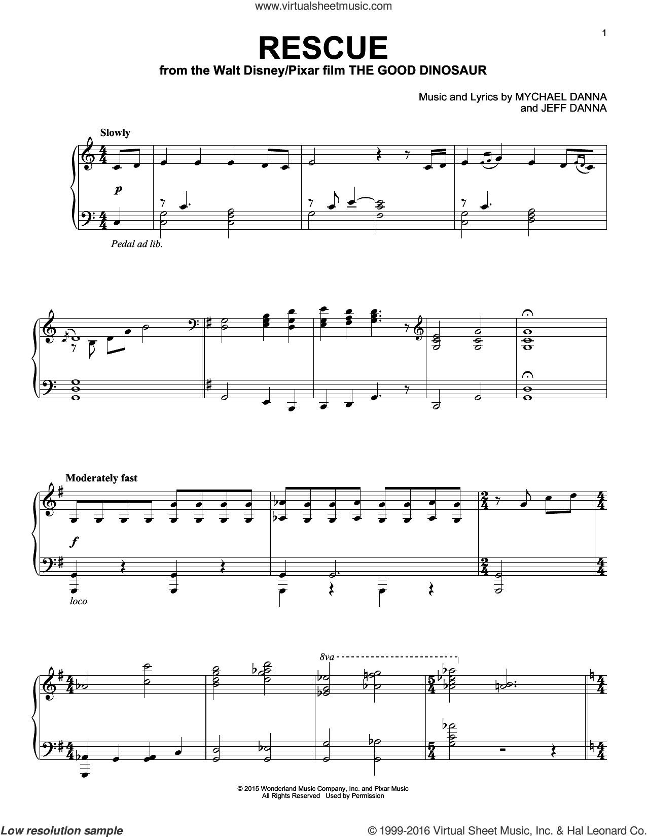 Rescue sheet music for piano solo by Mychael & Jeff Danna, Jeff Danna and Mychael Danna, intermediate skill level