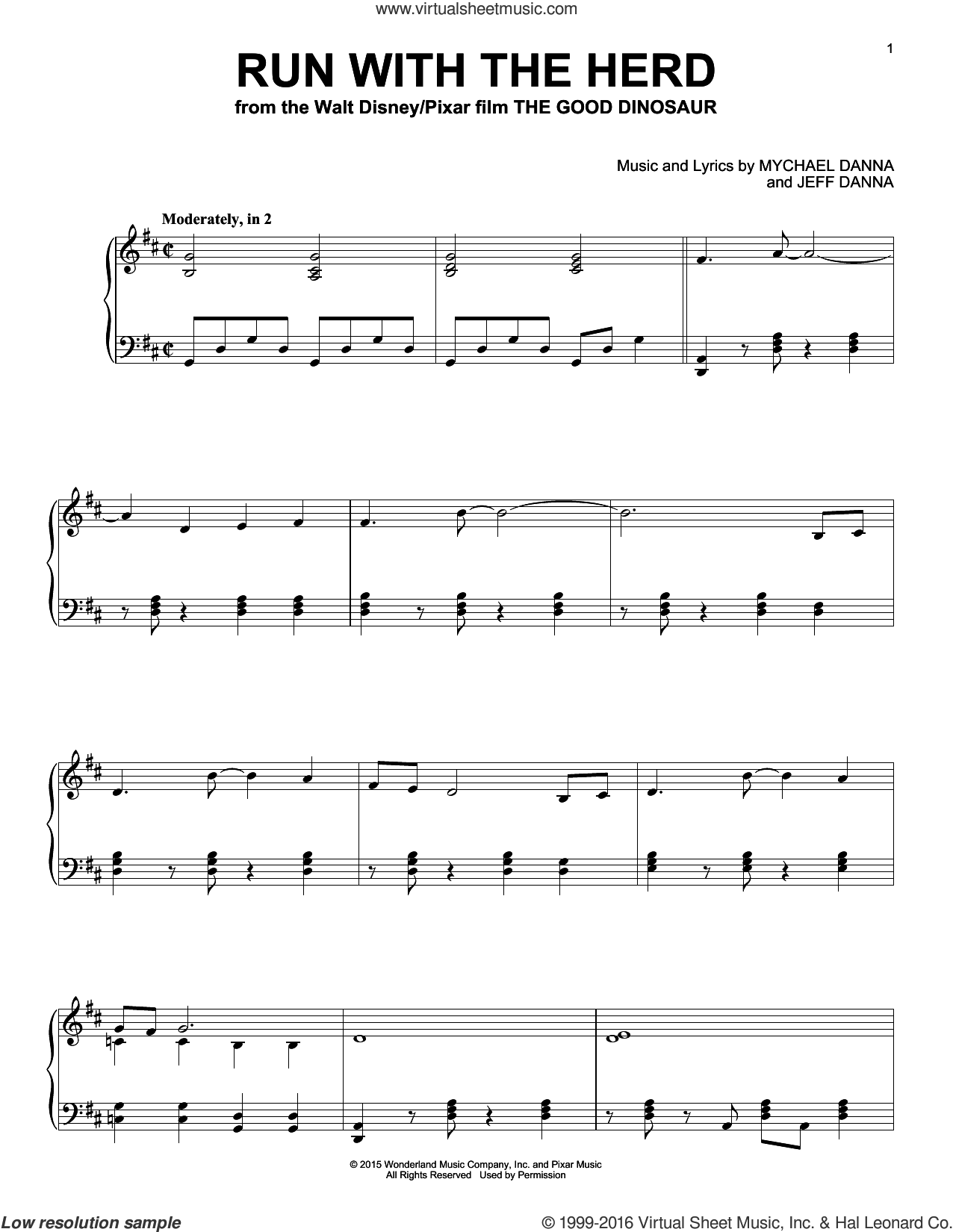 Run With The Herd sheet music for piano solo by Mychael & Jeff Danna and Mychael Danna, intermediate piano. Score Image Preview.