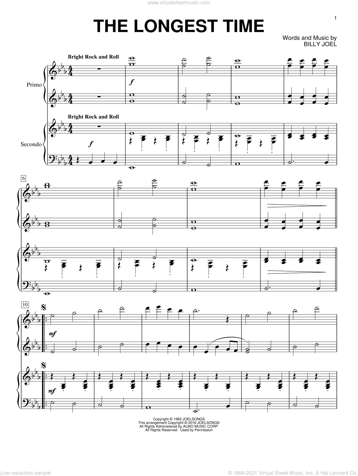 The Longest Time sheet music for piano four hands by Billy Joel, intermediate skill level