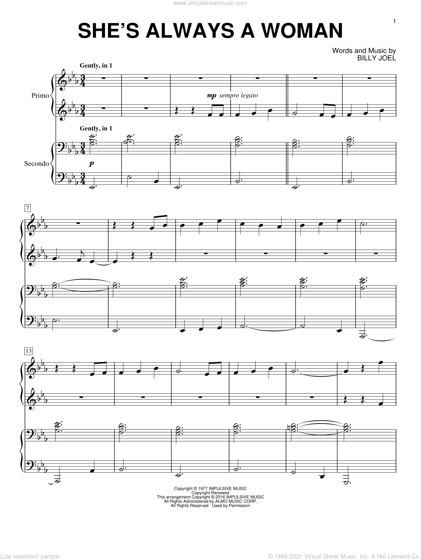 She's Always A Woman sheet music for piano four hands by Billy Joel, intermediate skill level