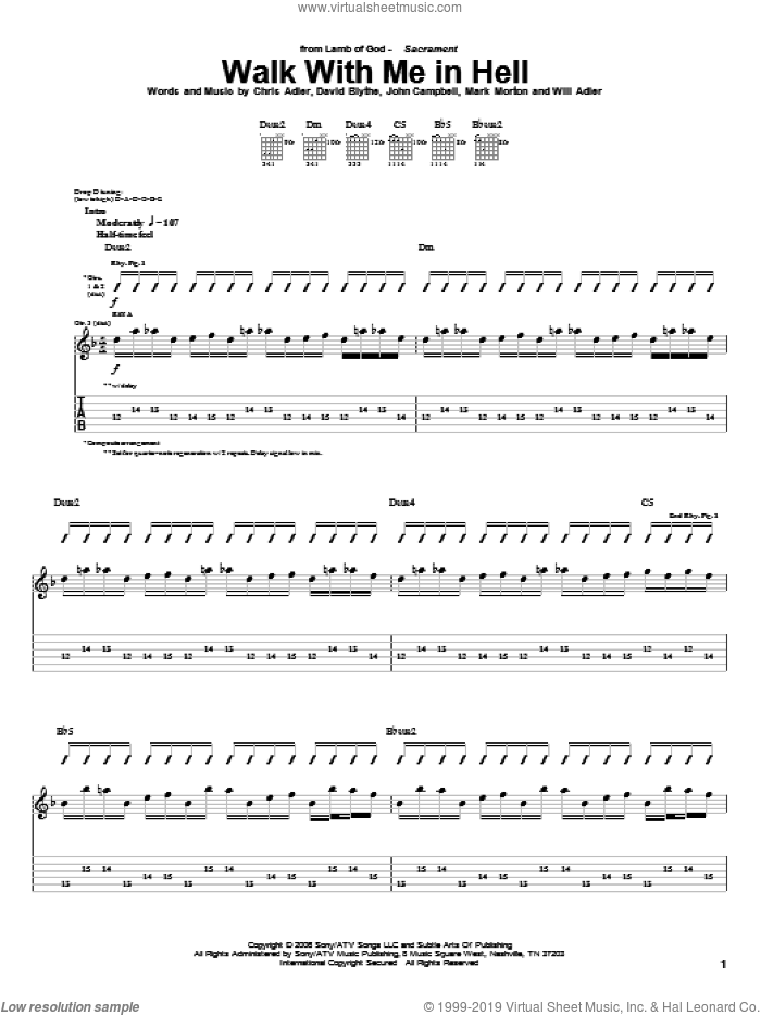 Walk With Me In Hell sheet music for guitar (tablature) by Lamb Of God, intermediate guitar (tablature). Score Image Preview.