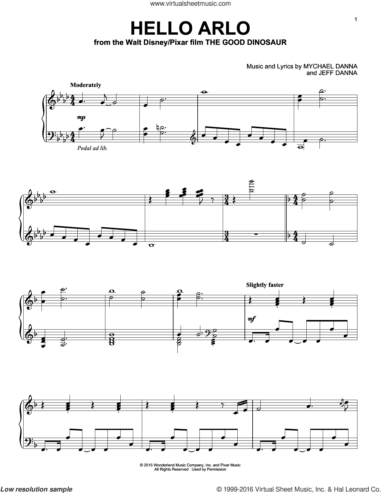 Hello Arlo sheet music for piano solo by Mychael & Jeff Danna and Mychael Danna, intermediate. Score Image Preview.