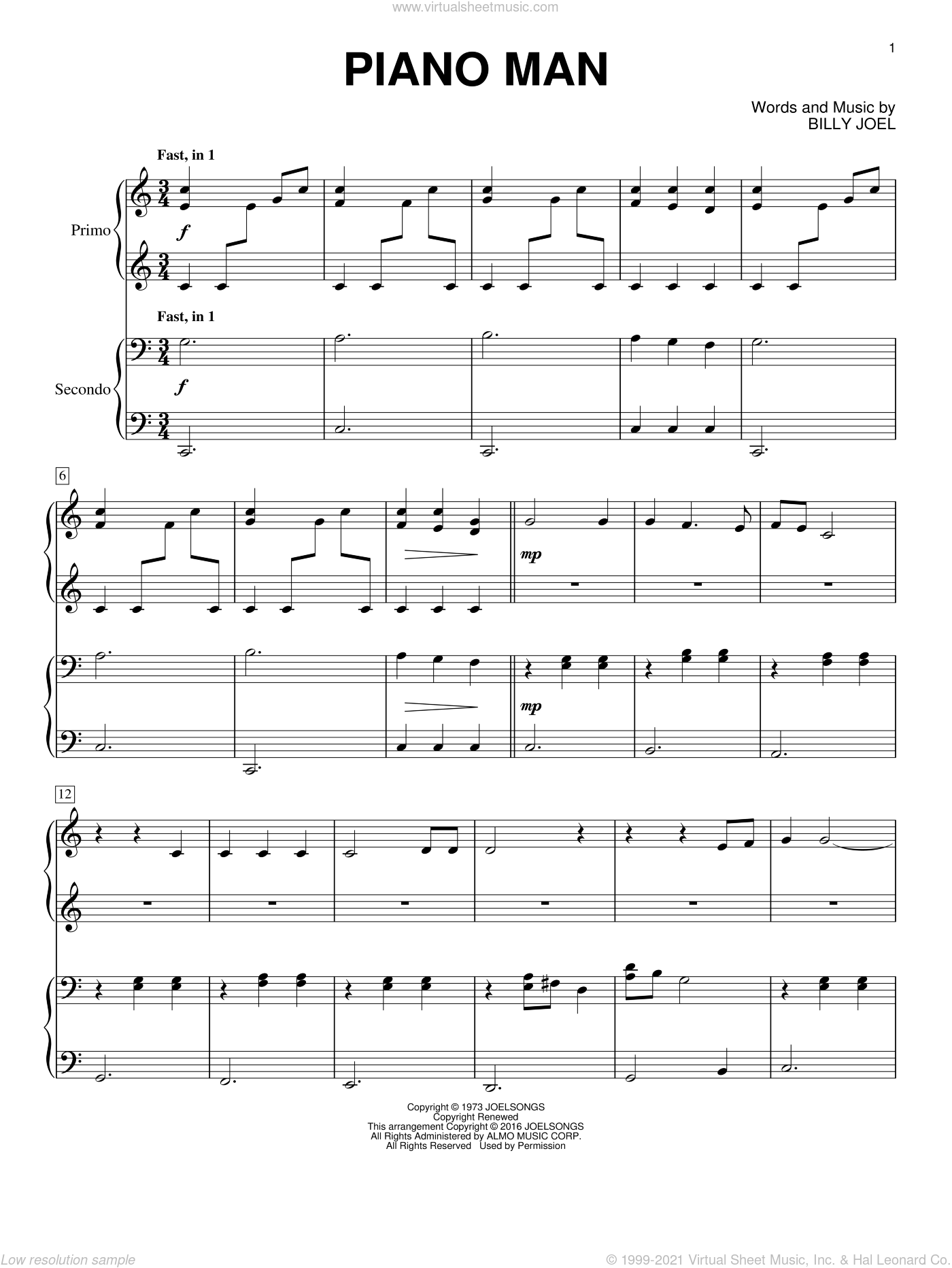 Piano Man sheet music for piano four hands by Billy Joel, intermediate skill level