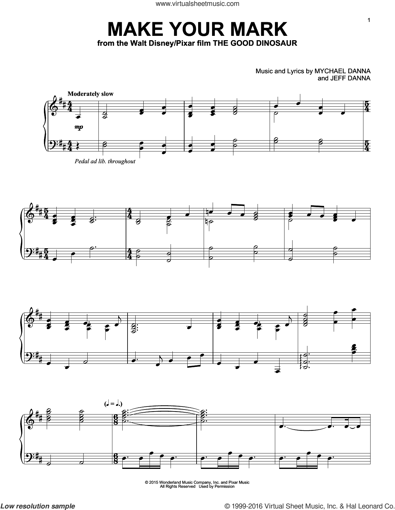 Make Your Mark sheet music for piano solo by Jeff Danna, Mychael & Jeff Danna and Mychael Danna. Score Image Preview.