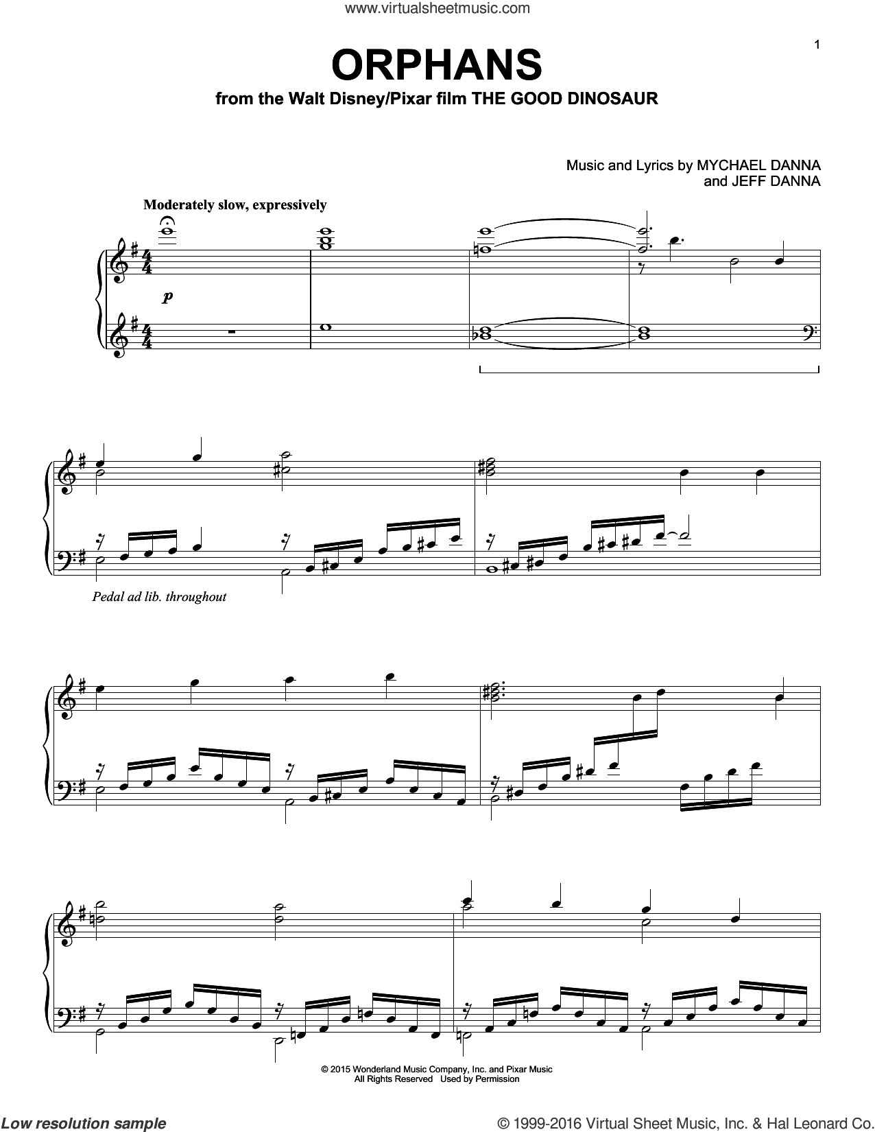 Orphans sheet music for piano solo by Mychael & Jeff Danna, Jeff Danna and Mychael Danna, intermediate skill level