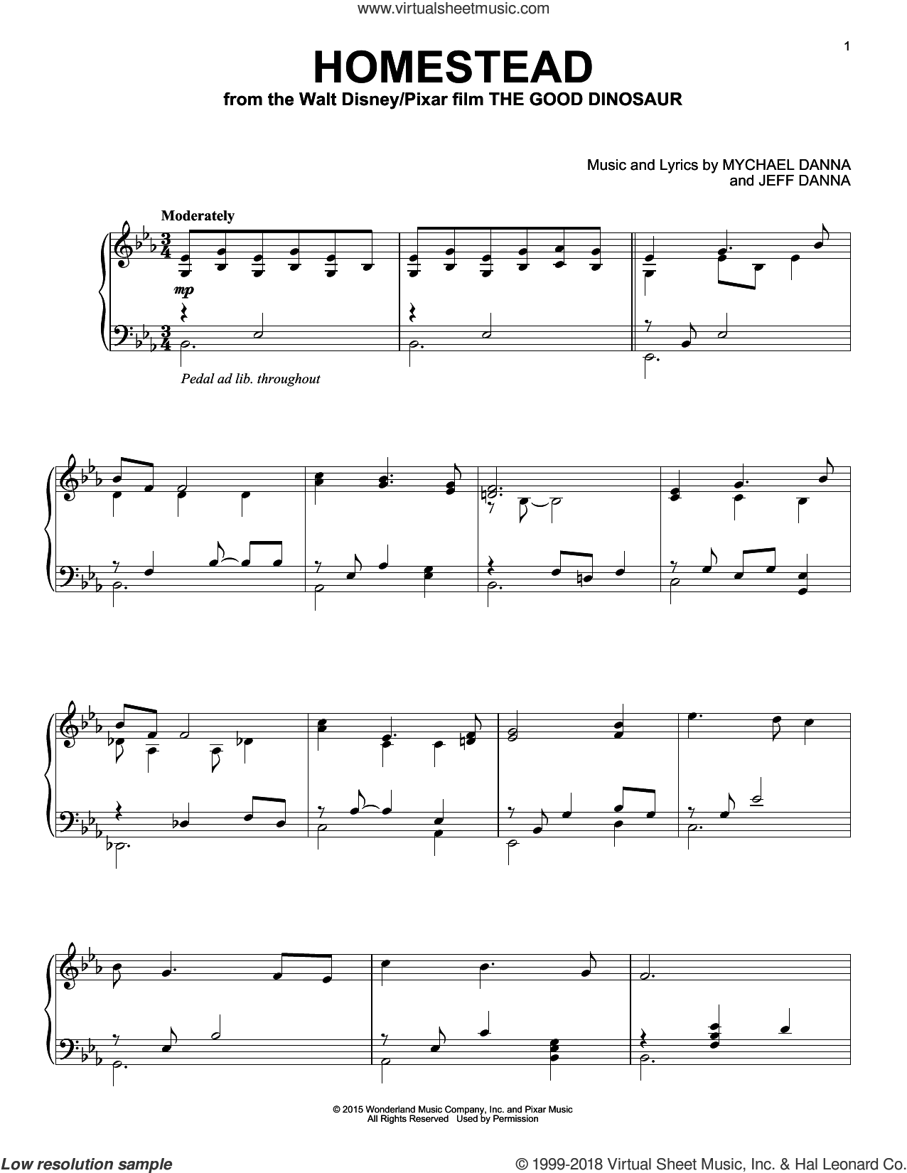 Homestead sheet music for piano solo by Mychael & Jeff Danna