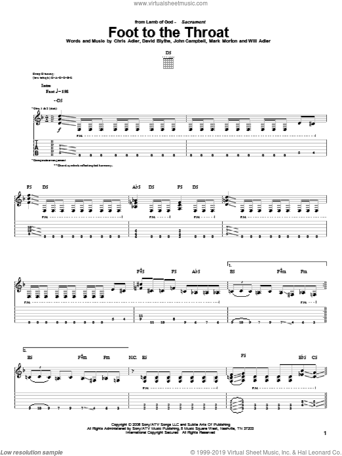 Foot To The Throat sheet music for guitar (tablature) by Lamb Of God, Chris Adler, David Blythe, John Campbell, Mark Morton and Will Adler, intermediate. Score Image Preview.