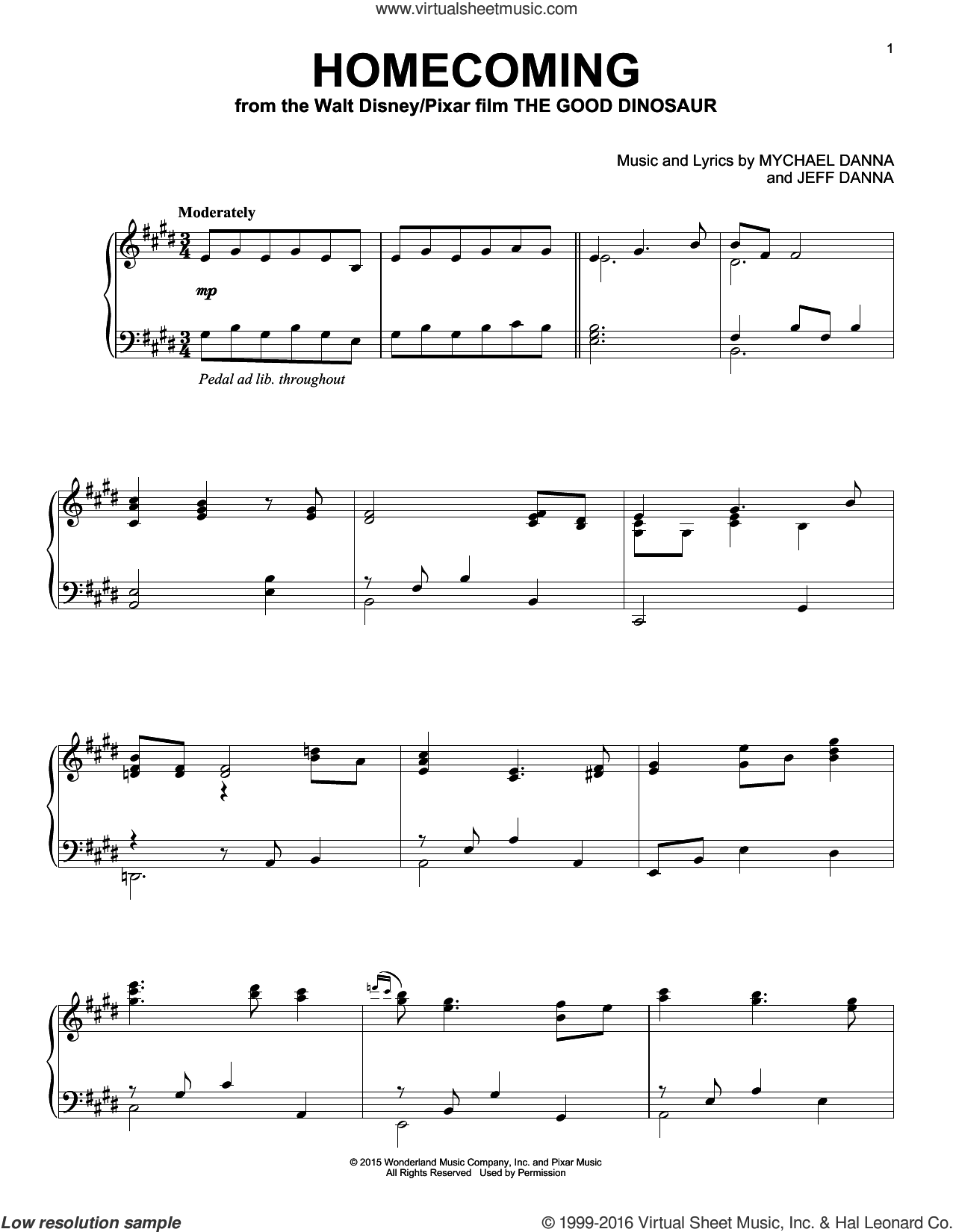 Homecoming sheet music for piano solo by Mychael & Jeff Danna, Jeff Danna and Mychael Danna, intermediate skill level