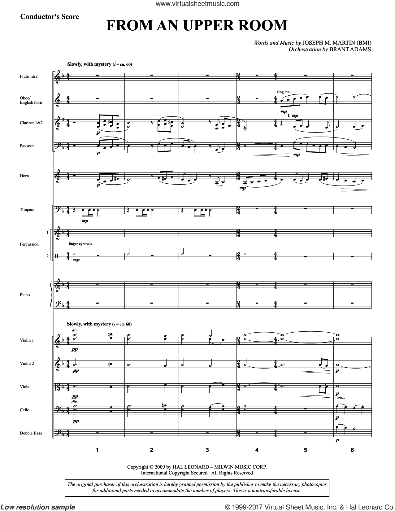 From An Upper Room (from Lenten Sketches) (COMPLETE) sheet music for orchestra/band by Joseph M. Martin, intermediate skill level