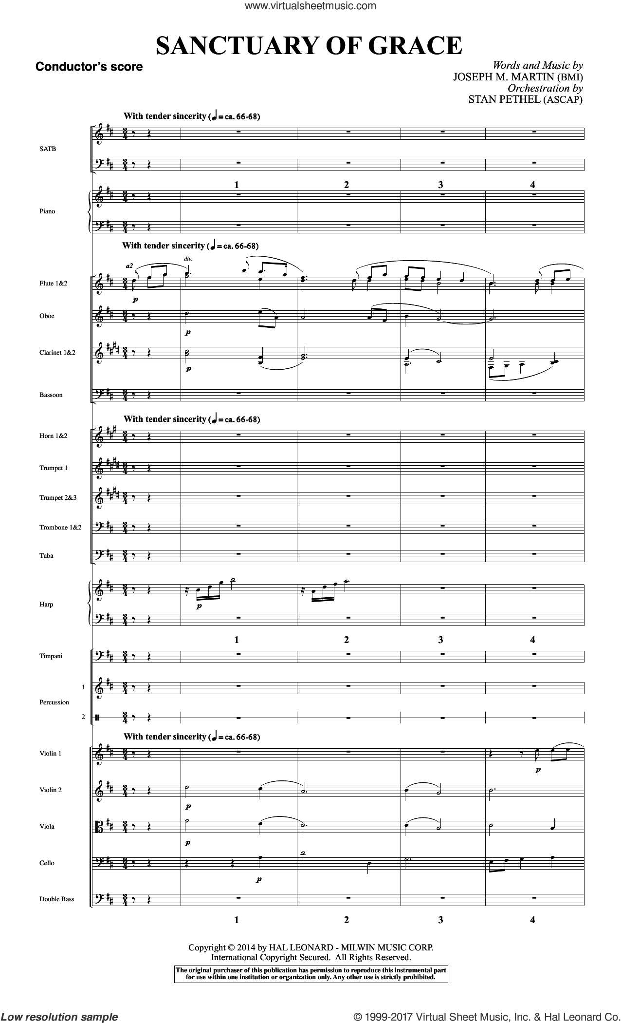 Sanctuary Of Grace (from Sanctuary) (COMPLETE) sheet music for orchestra/band by Joseph M. Martin, intermediate. Score Image Preview.