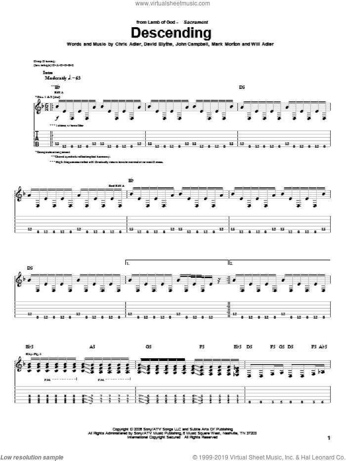 Descending sheet music for guitar (tablature) by Will Adler and Lamb Of God. Score Image Preview.