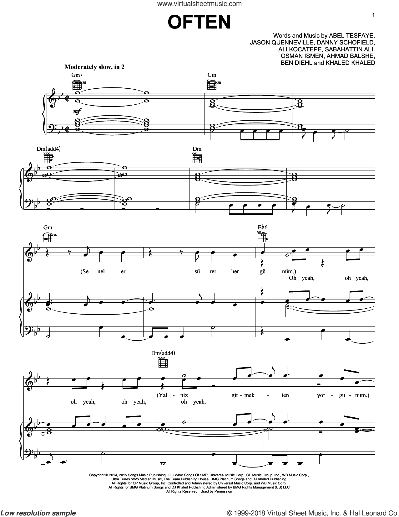Often sheet music for voice, piano or guitar by The Weeknd, Abel Tesfaye, Ahmad Balshe, Ali Kocatepe, Ben Diehl, Danny Schofield, Jason Quenneville, Khaled Khaled, Osman Ismen and Sabahattin Ali, intermediate skill level