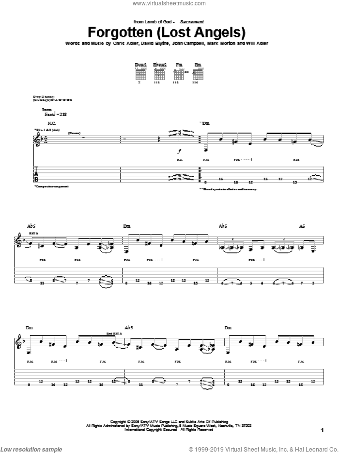 Forgotten (Lost Angels) sheet music for guitar (tablature) by Will Adler