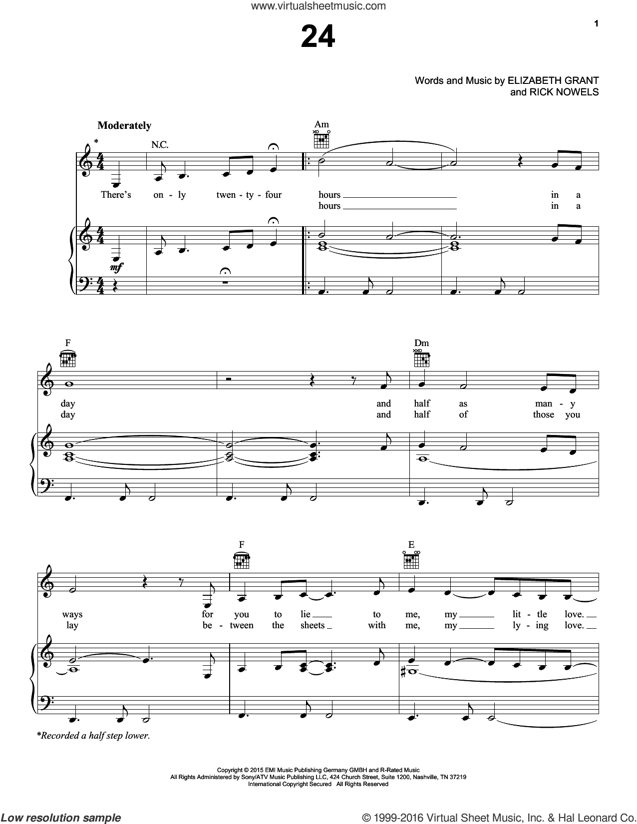 24 sheet music for voice, piano or guitar by Lana Del Rey, Lana Del Ray, Elizabeth Grant and Rick Nowels, intermediate skill level