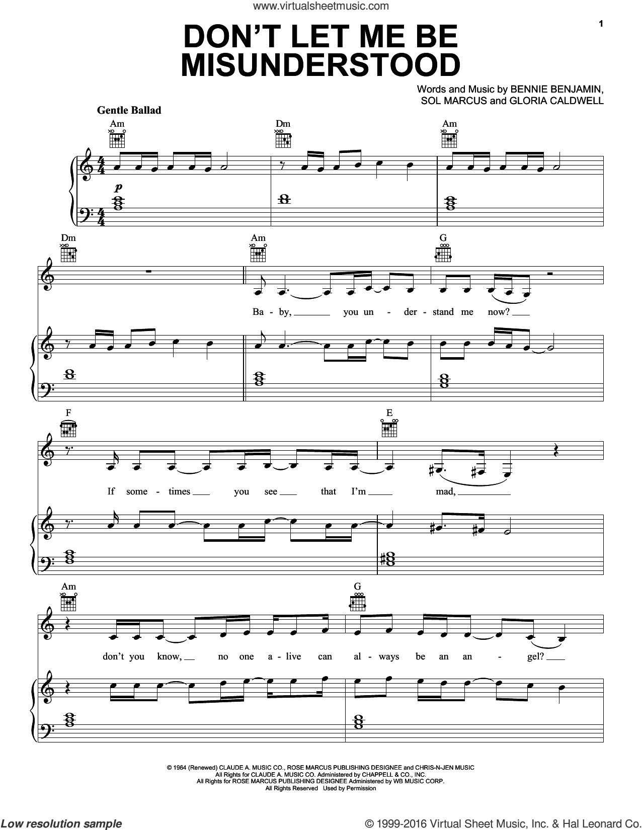 Don't Let Me Be Misunderstood sheet music for voice, piano or guitar by Lana Del Rey, The Animals, Bennie Benjamin, Gloria Caldwell and Sol Marcus, intermediate skill level