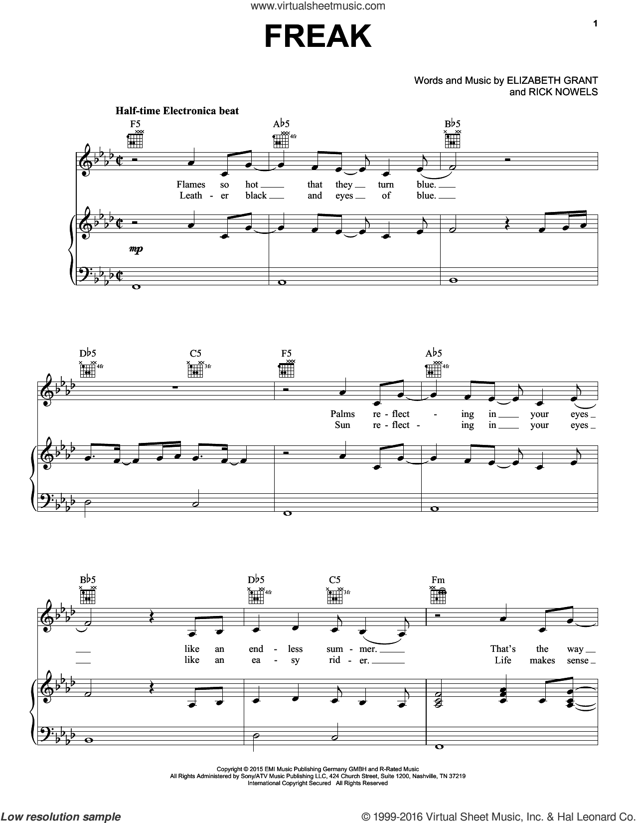 Freak sheet music for voice, piano or guitar by Lana Del Rey, Lana Del Ray and Rick Nowels, intermediate. Score Image Preview.