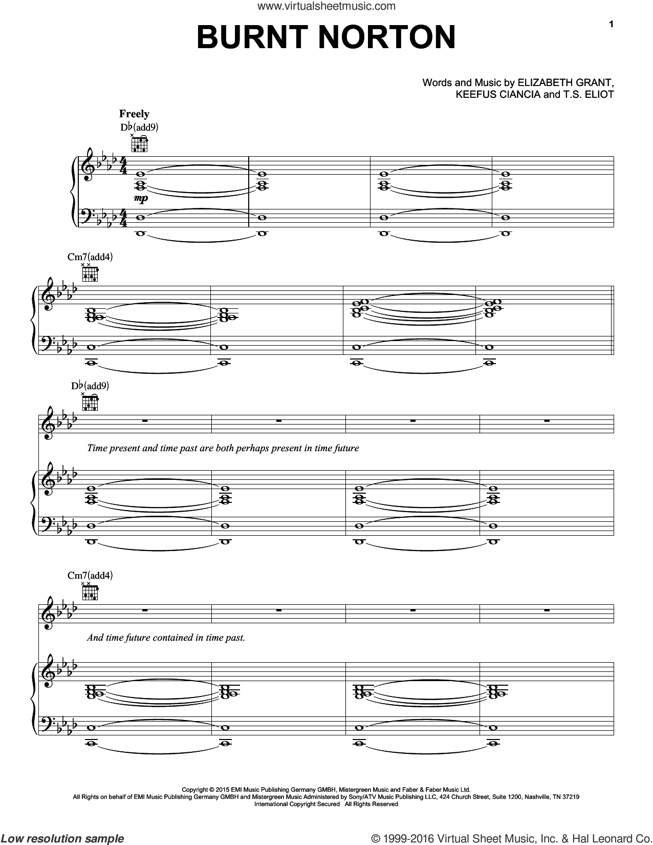 Burnt Norton sheet music for voice, piano or guitar by Lana Del Rey and Lana Del Ray. Score Image Preview.