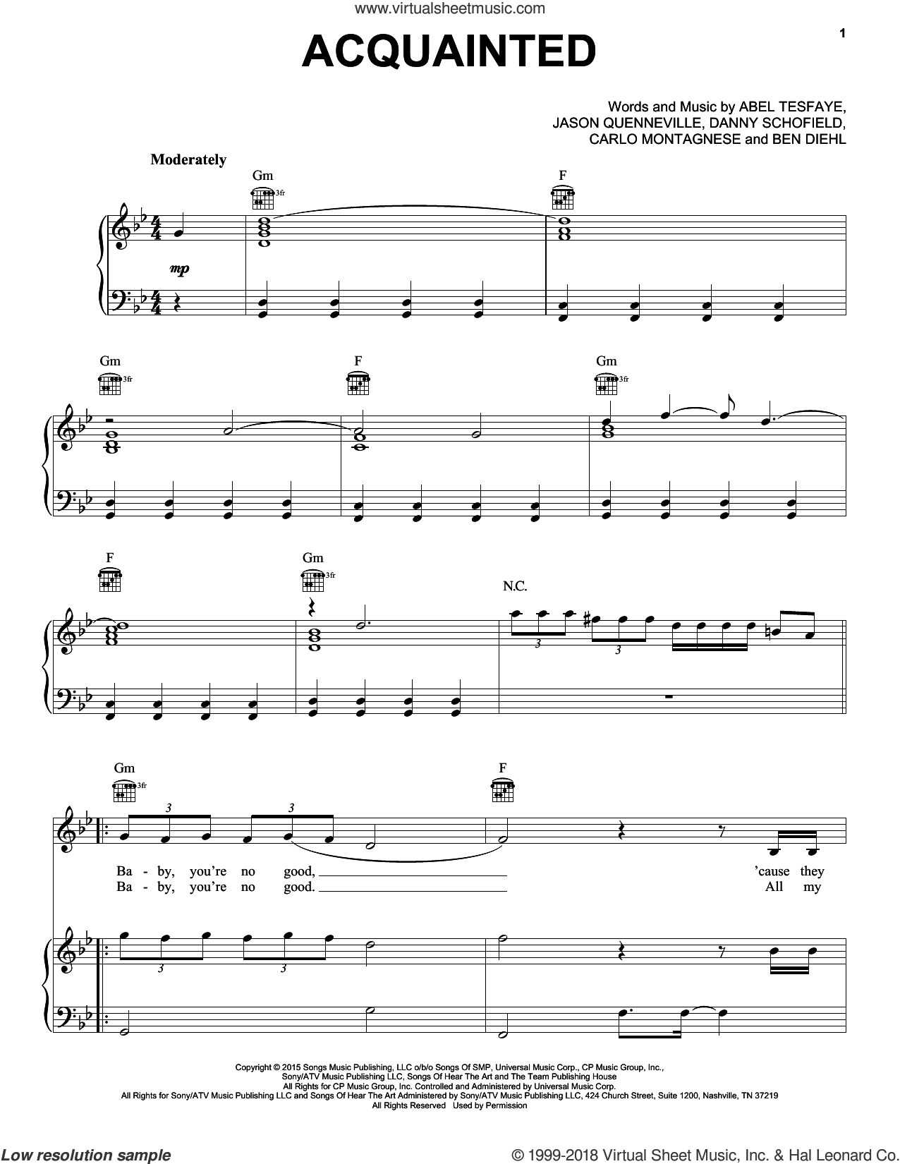 Acquainted sheet music for voice, piano or guitar by Jason Quenneville
