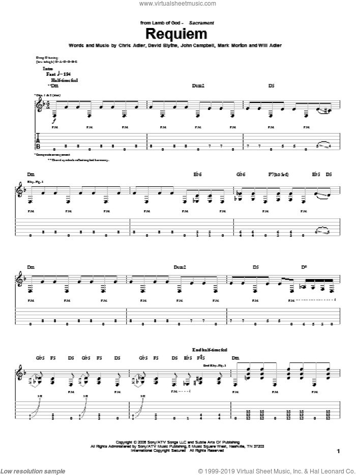 Requiem sheet music for guitar (tablature) by Lamb Of God, intermediate. Score Image Preview.