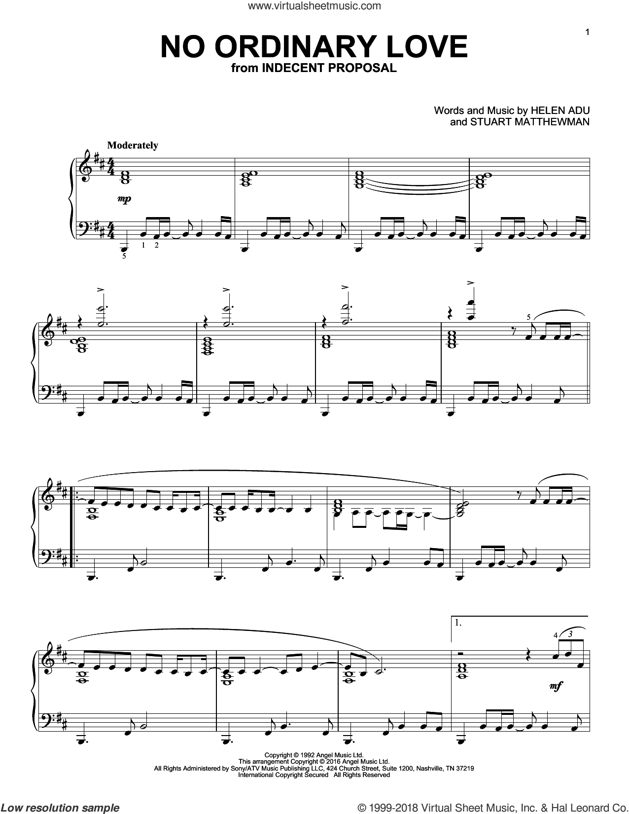 No Ordinary Love sheet music for piano solo by Sade, Helen Adu and Stuart Matthewman, intermediate skill level