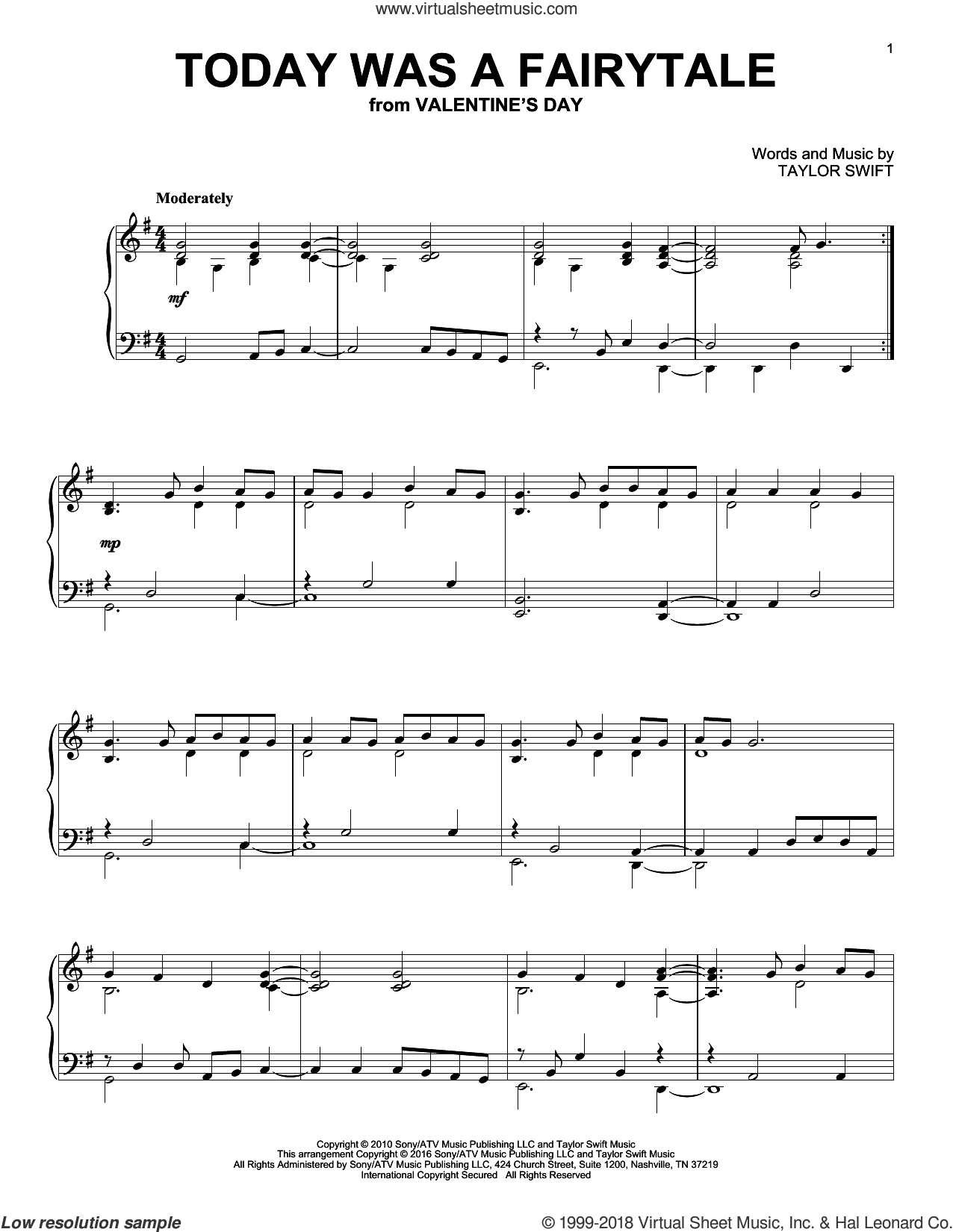Today Was A Fairytale sheet music for piano solo by Taylor Swift, intermediate skill level