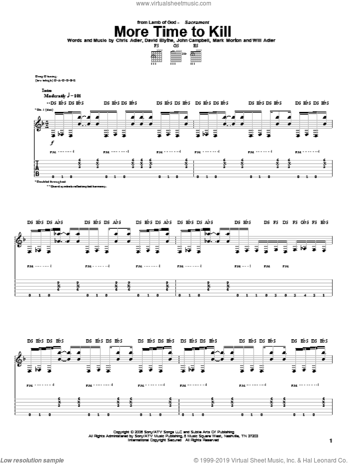 More Time To Kill sheet music for guitar (tablature) by Will Adler and Lamb Of God