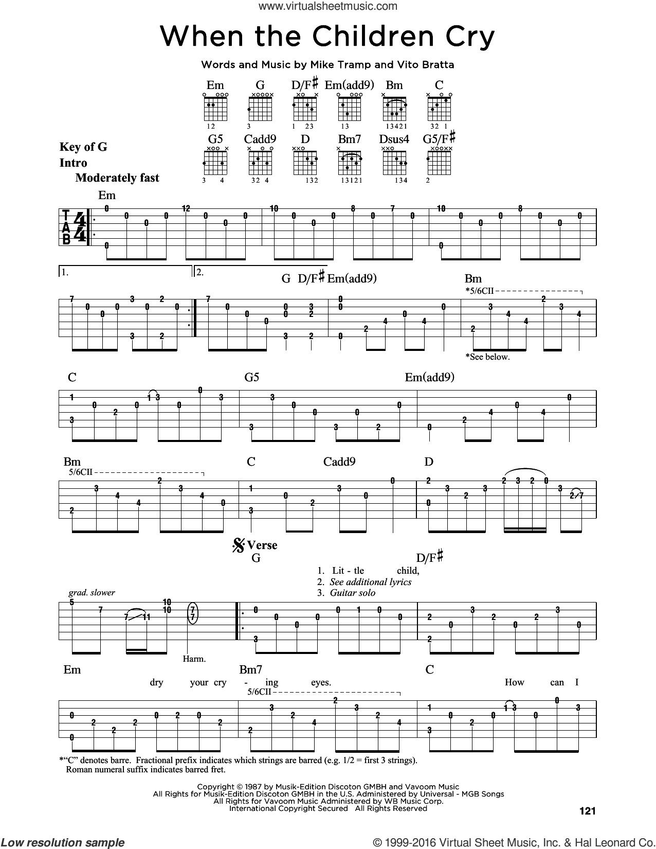 When The Children Cry sheet music for guitar solo (lead sheet) by Vito Bratta, White Lion and Mike Tramp. Score Image Preview.