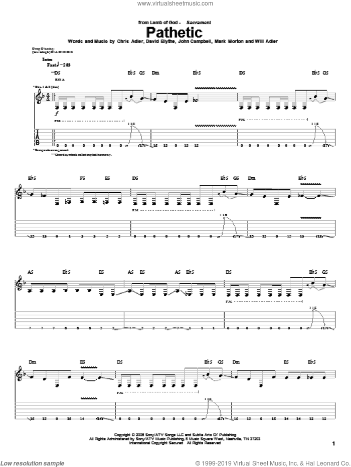 Pathetic sheet music for guitar (tablature) by Will Adler and Lamb Of God. Score Image Preview.