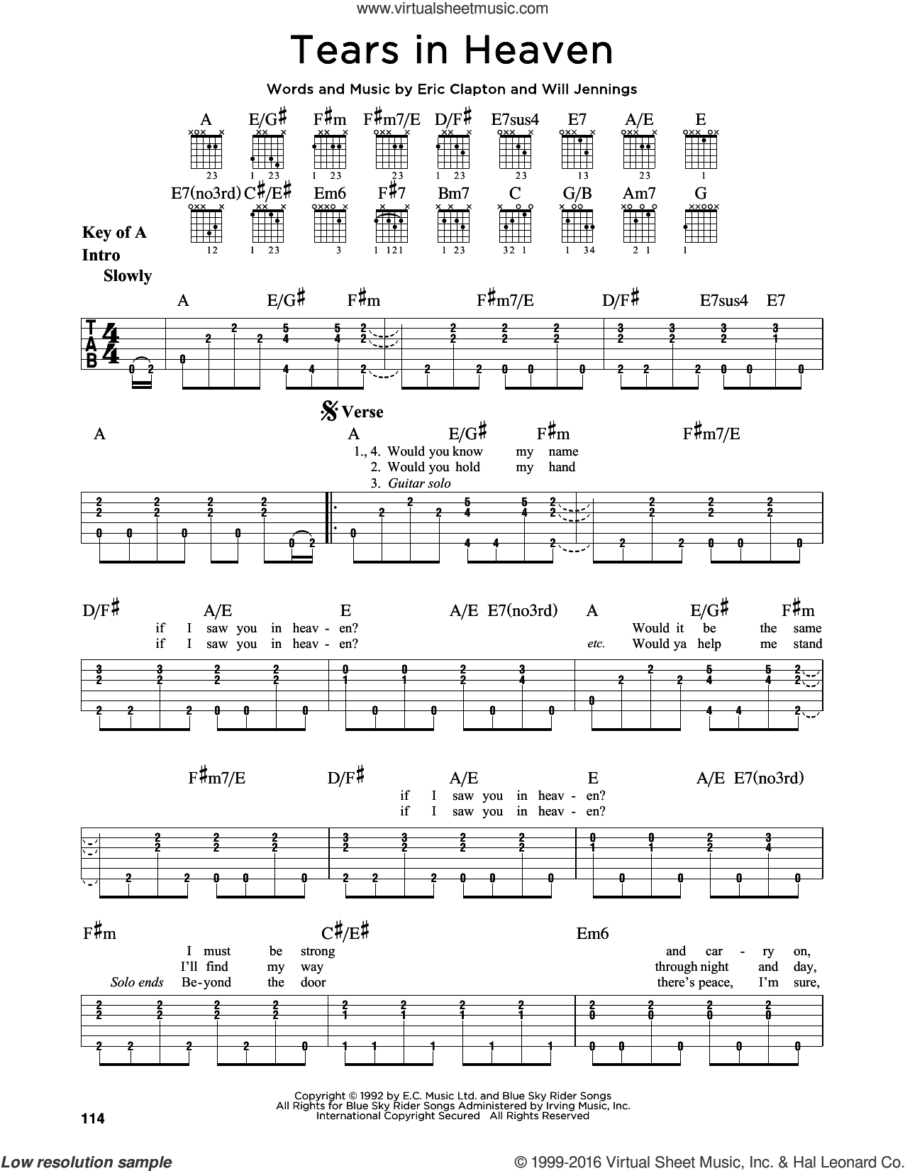 Tears In Heaven sheet music for guitar solo (lead sheet) by Will Jennings and Eric Clapton. Score Image Preview.