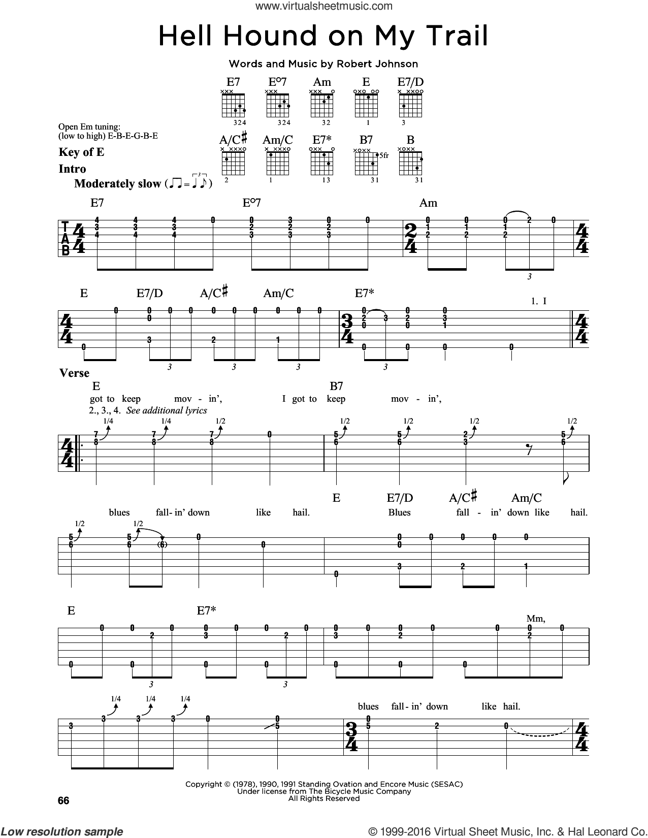 Hell Hound On My Trail sheet music for guitar solo (lead sheet) by Robert Johnson. Score Image Preview.