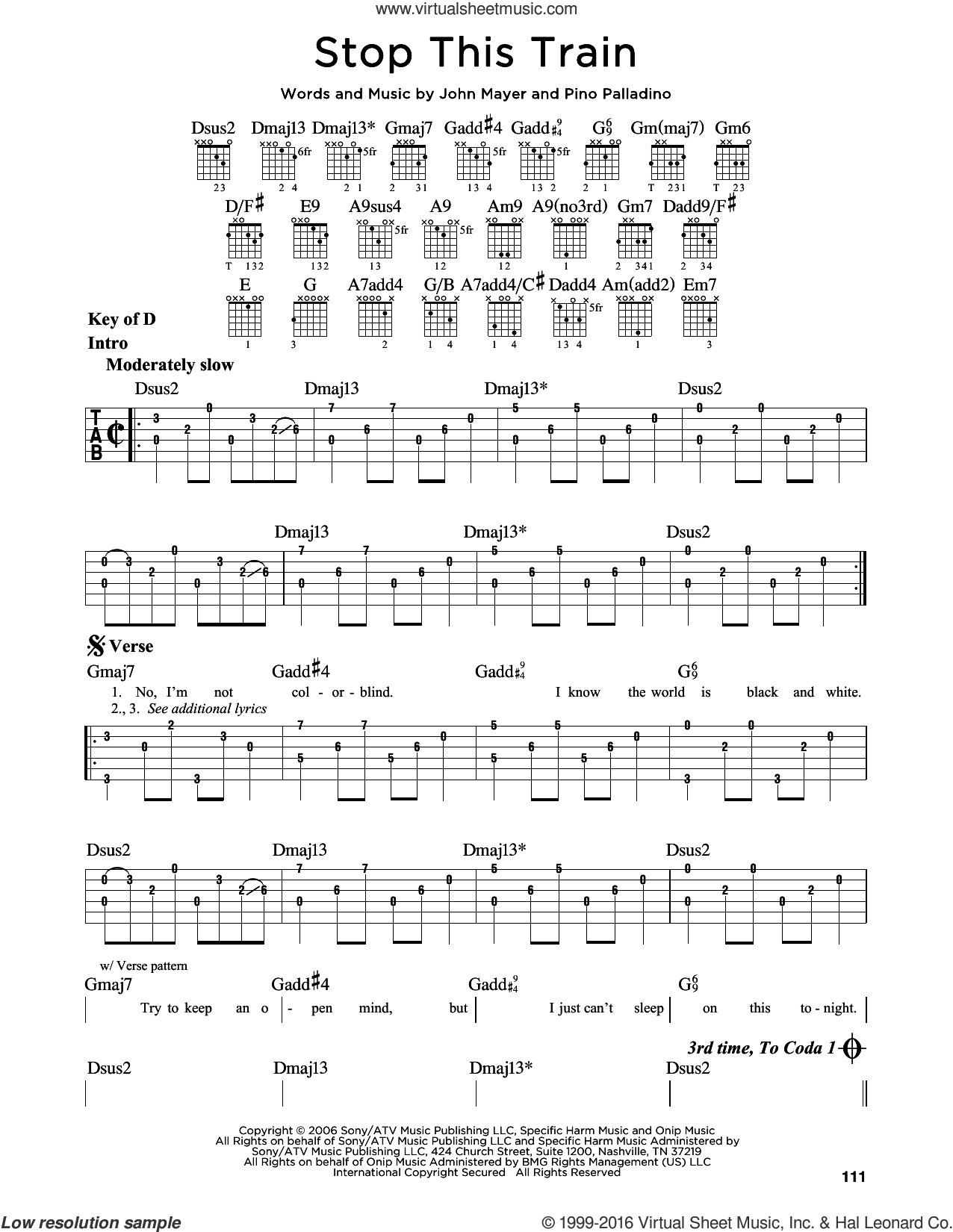 Stop This Train sheet music for guitar solo (lead sheet) by Pino Palladino and John Mayer. Score Image Preview.