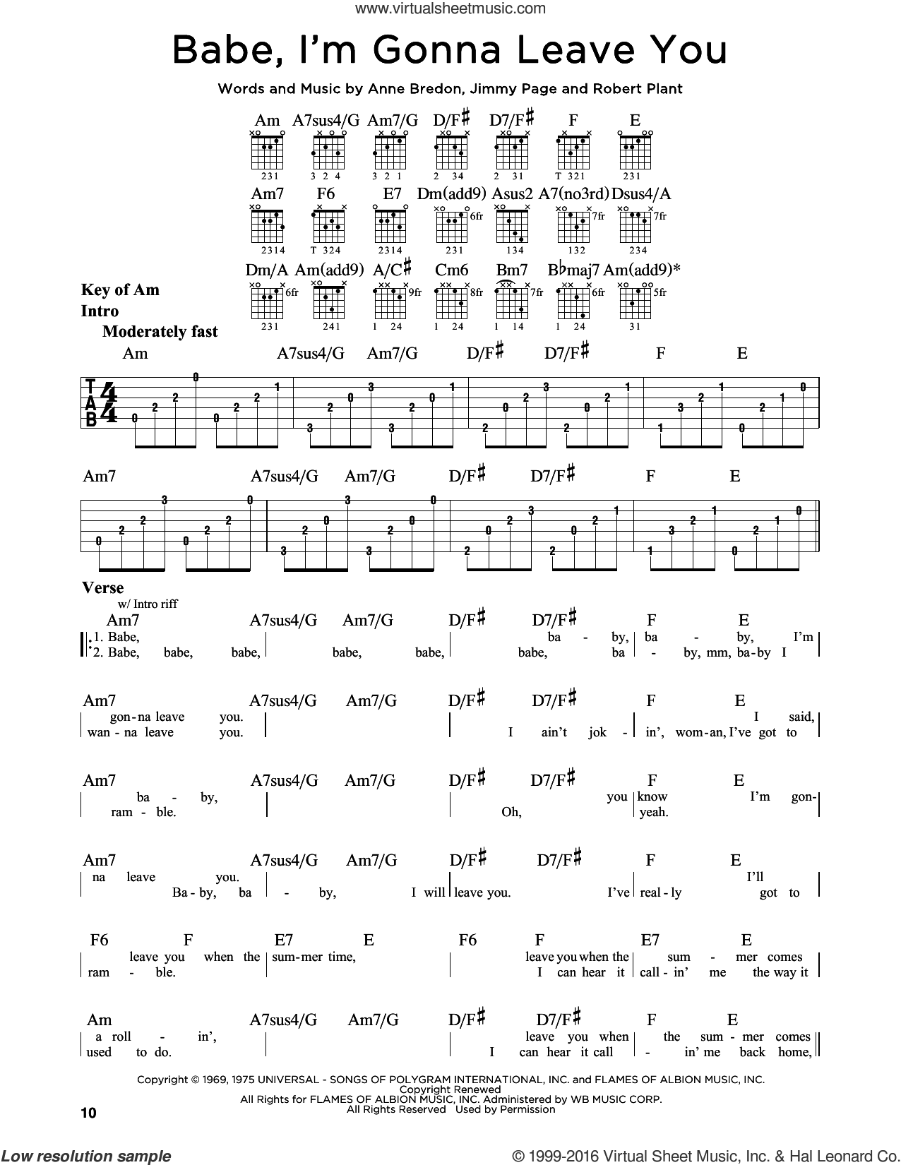 Babe, I'm Gonna Leave You sheet music for guitar solo (lead sheet) by Led Zeppelin, Anne Bredon, Jimmy Page and Robert Plant, intermediate guitar (lead sheet)