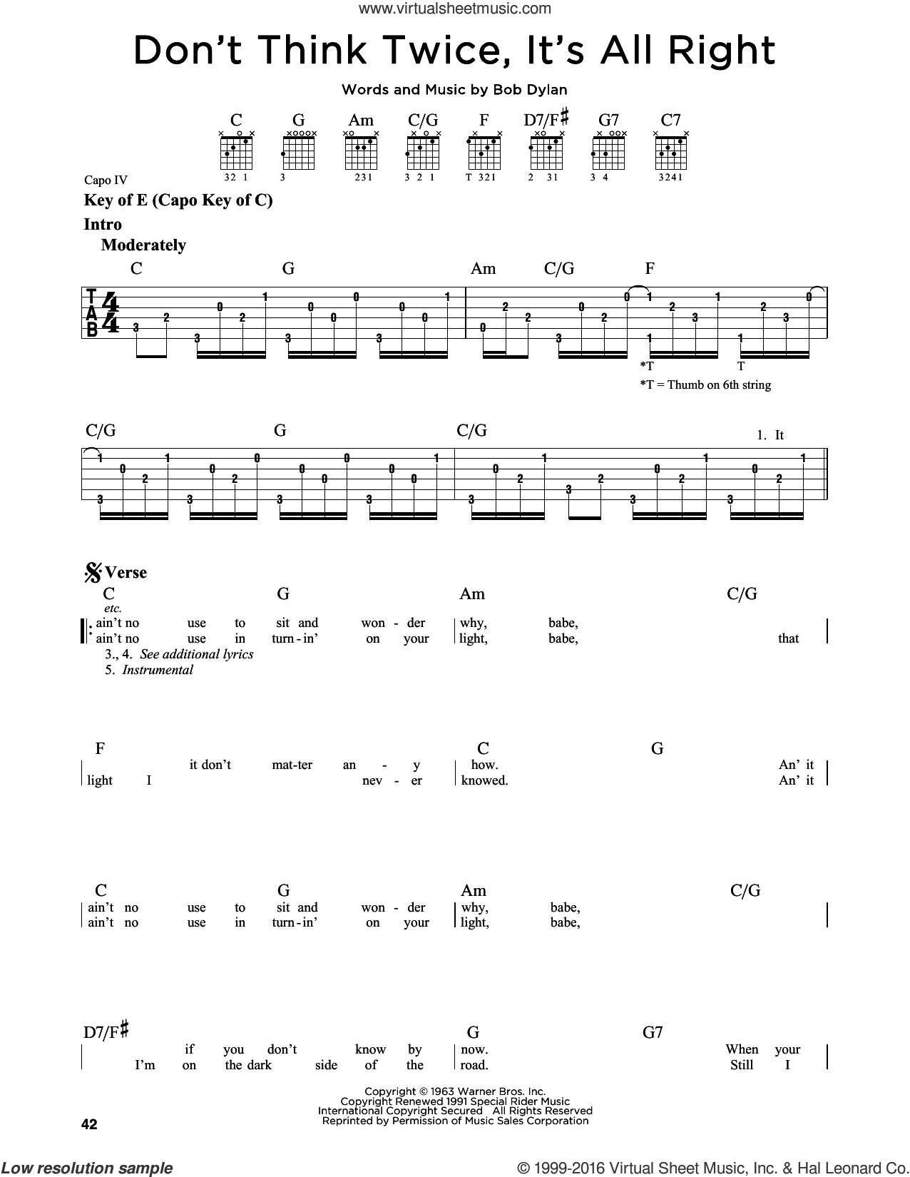 Don't Think Twice, It's All Right sheet music for guitar solo (lead sheet) by Bob Dylan and Peter, Paul & Mary, intermediate guitar (lead sheet)