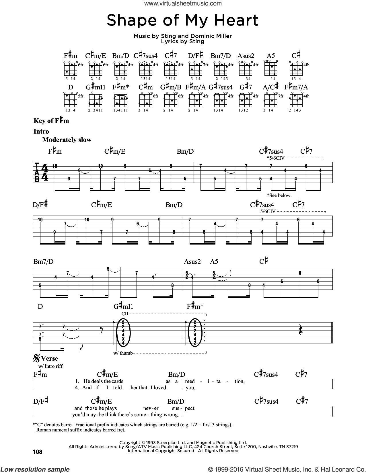 Shape Of My Heart sheet music for guitar solo (lead sheet) by Dominic Miller and Sting. Score Image Preview.